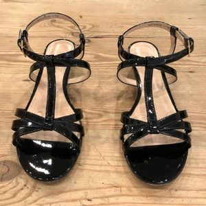 Kate Spade Black Patent Leather Wedge Sandals